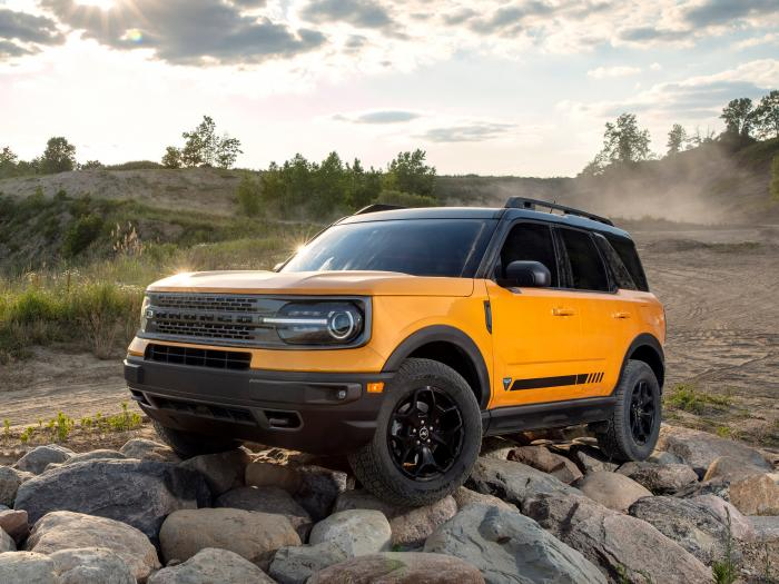 This photo provided by Ford shows the 2021 Ford Bronco Sport. It retains the look of the upcoming Bronco but in a more road-friendly and less expensive vehicle