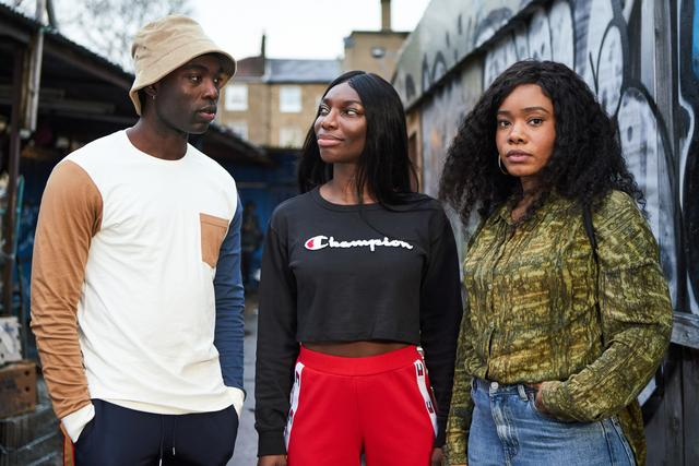 """From left to right: Paapa Essiedu, Michaela Coel, Weruche Opia in """"I May Destroy You."""""""