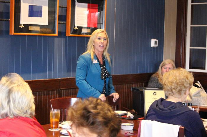 Republican Marjorie Taylor Greene speaks to a GOP women's group in Rome, Ga.