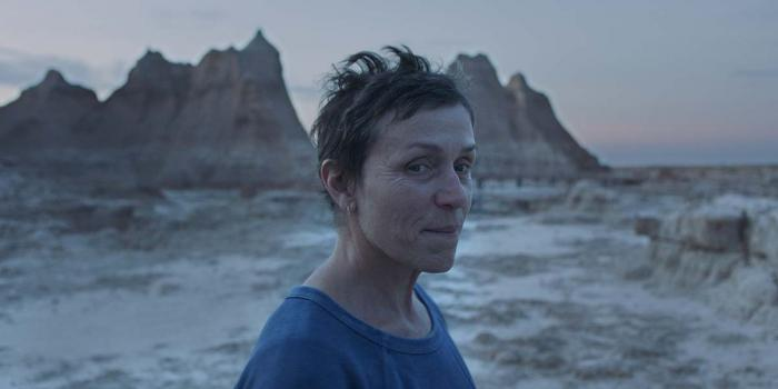 "Frances McDormand in a scene from the film ""Nomadland."""
