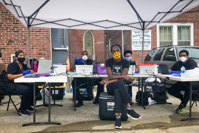 Dr. Ala Stanford and her staff on duty a coronavirus testing site in Pennsylvania. Stanford created the Black Doctors COVID-19 Consortium and sends mobile test units into neighborhoods.