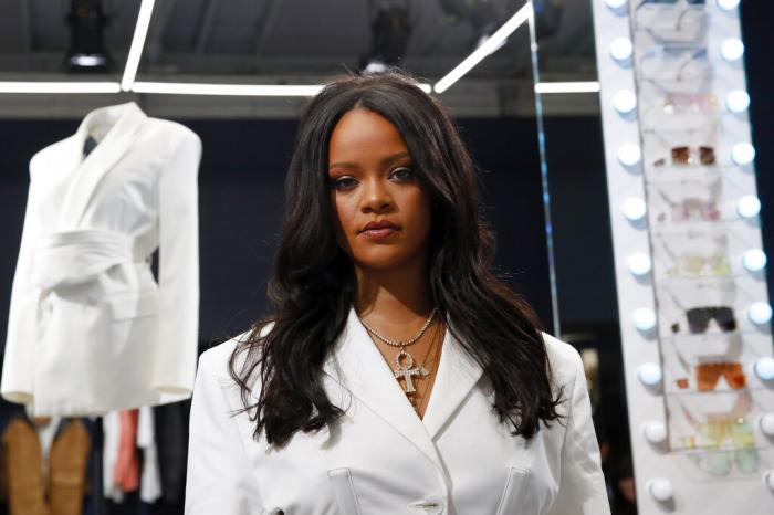 Rihanna poses as she unveils her first fashion designs for Fenty at a pop-up store in Paris, France, on May 22, 2019.