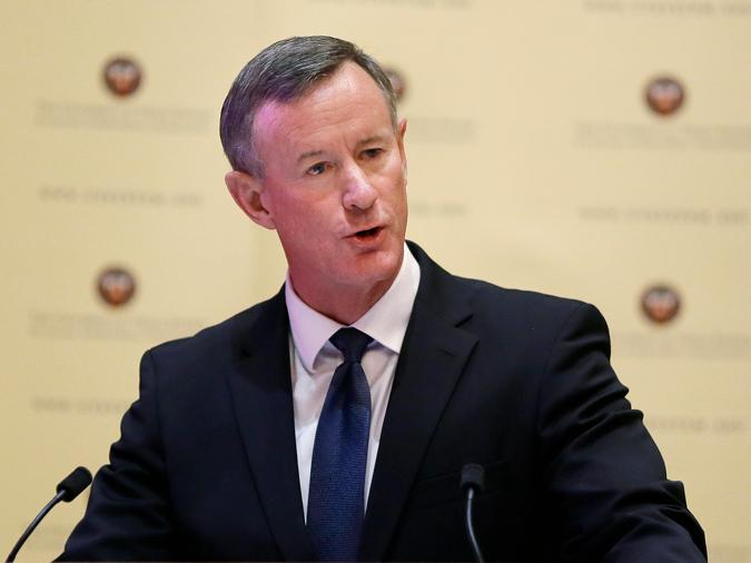 In this Aug. 21, 2014, file photo, William McRaven addresses the Texas Board of Regents in Austin, Texas