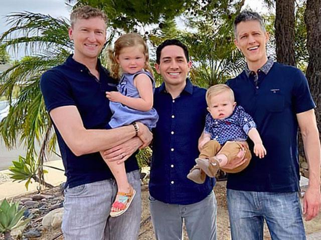 (left-to-right) Jeremy Allen Hodges, Alan Mayfield, and Ian Jenkins, and their children Piper, 3, and Parker, 14-months.