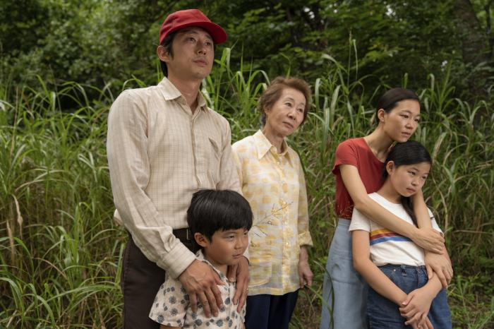 "From left, Steven Yeun, Alan S. Kim, Yuh-Jung Youn, Yeri Han, and Noel Cho in a scene from ""Minari."""