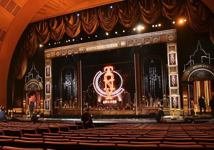 Workers prepare for the 73rd annual Tony Awards in New York on June 9, 2019