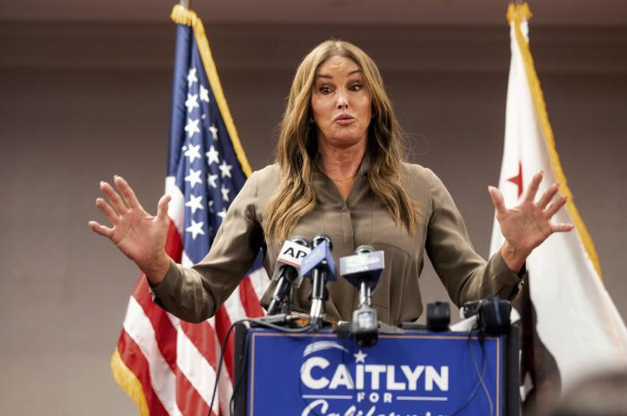 Caitlyn Jenner, a Republican candidate for California governor, speaks during a news conference in Sacramento, Calif.