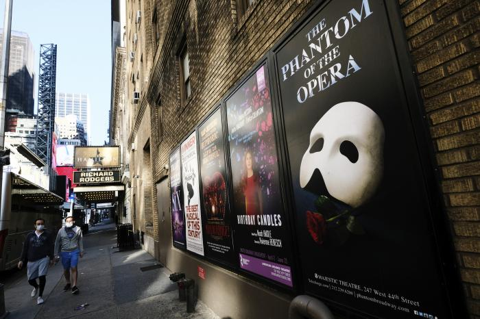 Broadway posters appear outside the Richard Rodgers Theatre during Covid-19 lockdown in New York.