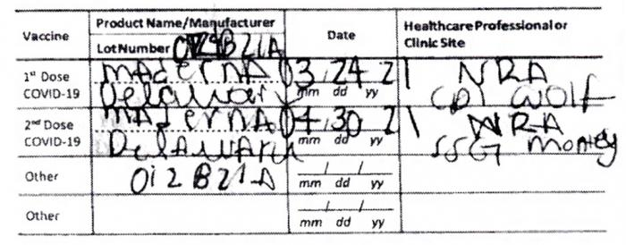 This document provided by the Hawaii Attorney General's Office shows a fake COVID-19 Vaccination Record Card from a tourist visiting Hawaii.