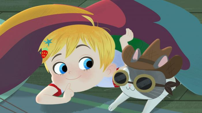 """This image released by Warner Bros. Animation shows characters Little Ellen, left, and Charlie in a scene from the animated series """"Little Ellen,"""" part of Cartoonito, a new preschool block launching on HBO Max and Cartoon Network"""