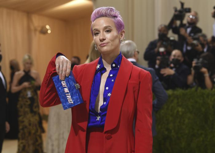 """Megan Rapinoe attends The Metropolitan Museum of Art's Costume Institute benefit gala celebrating the opening of the """"In America: A Lexicon of Fashion"""" exhibition."""